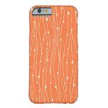 Líneas coralinas y blancas funda de iPhone 6 barely there