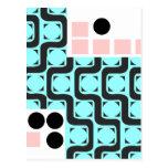 Líneas curvadas retras cuadrados y círculos postal