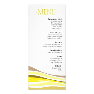 Líneas Curvy amarillo del menú de la cena Anuncios Personalizados