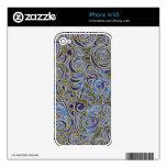 Líneas Curvy azul del batik Skin Para El iPhone 4