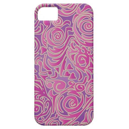 Líneas Curvy caso del iPhone 5 del rosa del batik Funda Para iPhone SE/5/5s