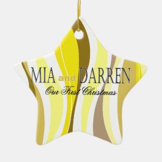 Líneas Curvy foto - amarillo Ornamentos De Navidad