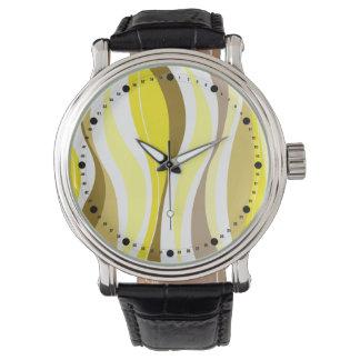 Líneas Curvy modernas (marrón amarillo de color Relojes De Mano