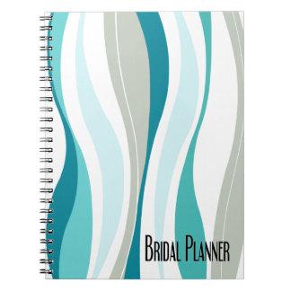Líneas Curvy planificador nupcial de la aguamarina Note Book