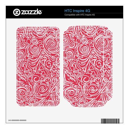 Líneas Curvy rojas HTC Inspire 4G Calcomanía