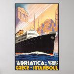 Líneas de Adriatica del poster del viaje del vinta