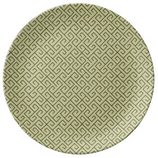 Líneas de ángulo recto espirales célticas del platos de cerámica