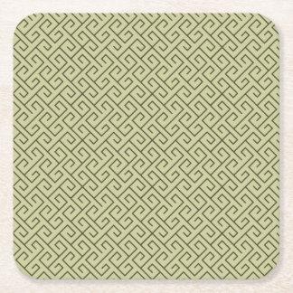 Líneas de ángulo recto espirales célticas del posavasos desechable cuadrado