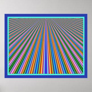 Líneas de color Dizzying carretera Póster