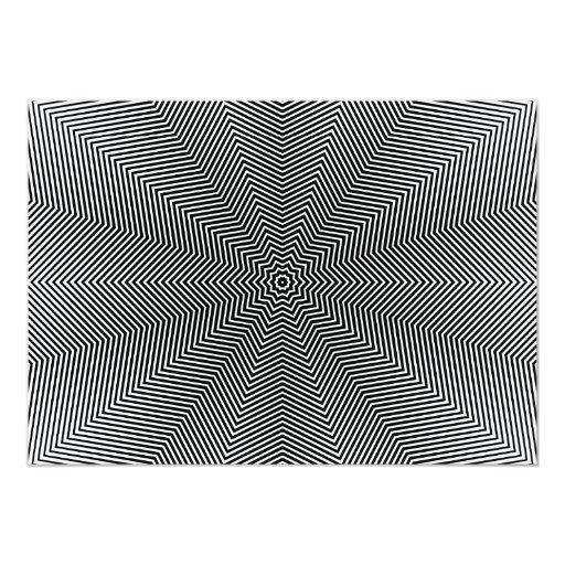 Líneas de la estrella de la ilusión óptica invitación 12,7 x 17,8 cm