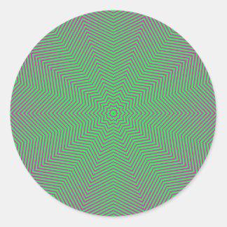 Líneas de la estrella de la ilusión óptica pegatina redonda