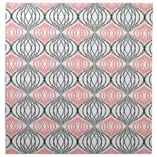 Líneas de moda modelo en rojo y negro en blanco servilleta de papel