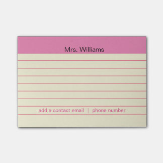 Líneas de negocio personalizadas profesor rosado notas post-it®