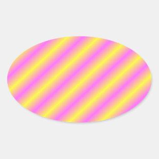 Líneas de neón amarillas y rosadas de Sideway Pegatina Ovalada