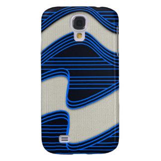 Líneas de neón azules impresión de la tela blanca