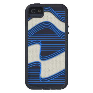 Líneas de neón azules impresión de la tela blanca iPhone 5 Case-Mate carcasa