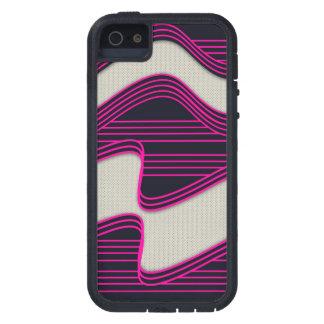 Líneas de neón impresión de la onda del rosa iPhone 5 funda