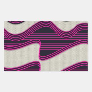 Líneas de neón impresión de la onda del trullo pegatina rectangular
