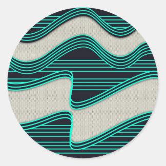 Líneas de neón impresión de la onda del trullo pegatina redonda