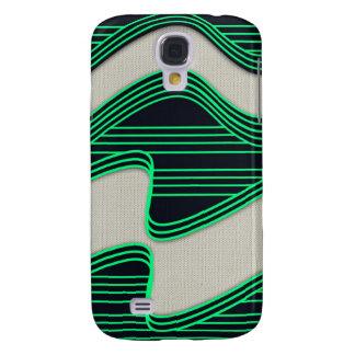 Líneas de neón impresión de la onda del verde blan