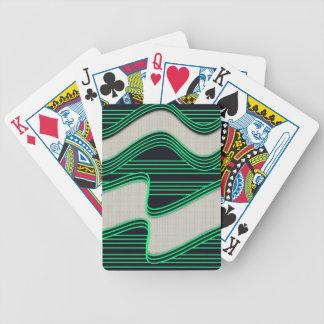 Líneas de neón impresión de la onda del verde blan baraja de cartas bicycle