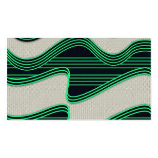 Líneas de neón impresión de la onda del verde blan tarjetas de visita