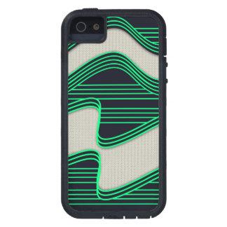 Líneas de neón impresión de la onda del verde iPhone 5 fundas