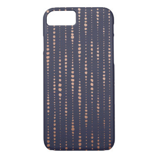 Líneas de puntos color de rosa caso del oro y de funda iPhone 7
