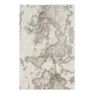 Líneas de telégrafo del mundo del vintage mapa (18  papeleria de diseño