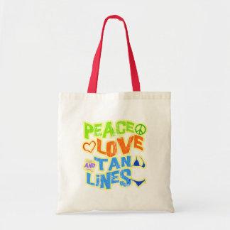 Líneas del moreno del amor de la paz bolsa