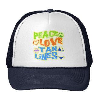Líneas del moreno del amor de la paz gorros bordados
