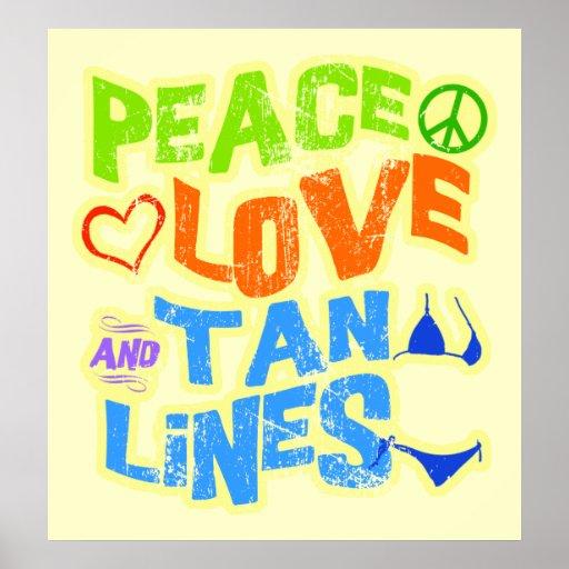 Líneas del moreno del amor de la paz impresiones