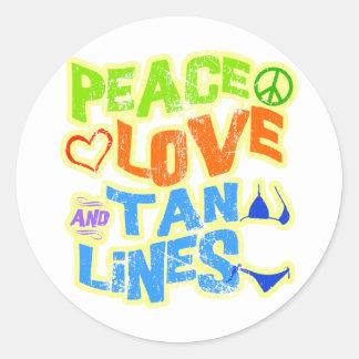 Líneas del moreno del amor de la paz pegatina redonda