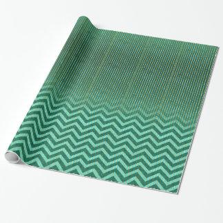 Líneas del verde esmeralda y del oro papel de regalo