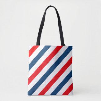 Líneas diagonales tricoloras (azul, blanco, rojo) bolsa de tela