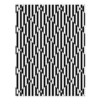 Líneas dobladas blancas negras diamantes de las il tarjeta postal