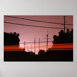 Líneas eléctricas con las rayas 2 póster