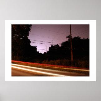 Líneas eléctricas con las rayas póster