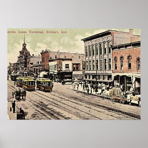 Líneas eléctricas de Elkhart, Indiana terminales Póster