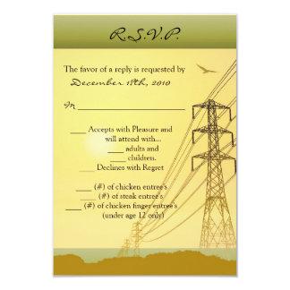 """líneas eléctricas de la puesta del sol de la invitación 3.5"""" x 5"""""""