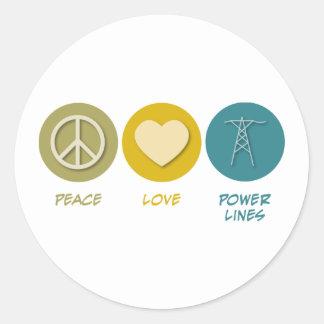 Líneas eléctricas del amor de la paz etiqueta redonda