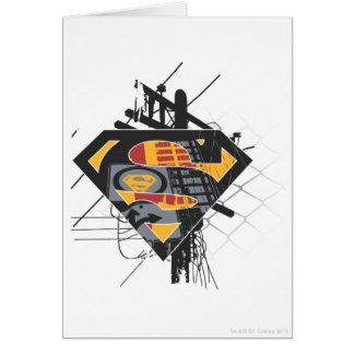 Líneas eléctricas del superhombre tarjeta de felicitación