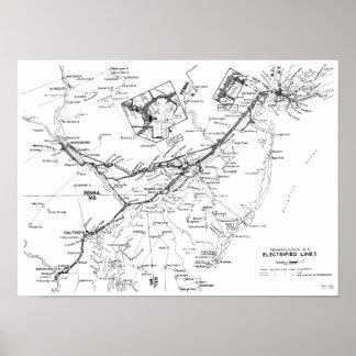 Líneas electrificadas ferrocarril mapa 1956 de Pen Impresiones