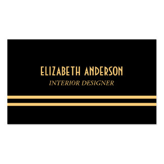 Líneas elegantes del art déco - oro y negro tarjeta de negocio