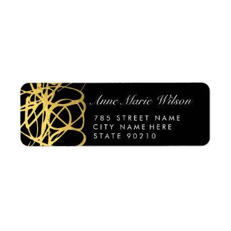 Líneas elegantes etiquetas del efecto del oro de etiqueta de remitente