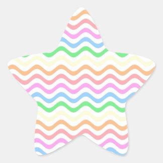 Líneas en colores pastel onduladas colcomanias forma de estrella personalizadas