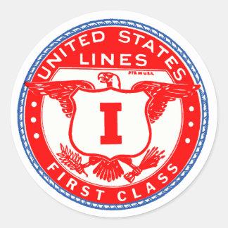 Líneas etiqueta de Estados Unidos de la primera