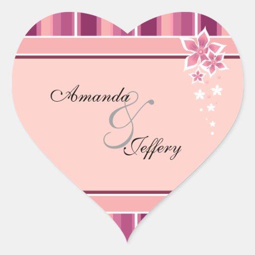 Líneas florales rosadas del sello el | del sobre pegatina en forma de corazón