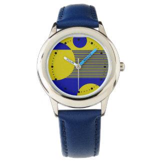 Líneas geométricas de las burbujas manchadas (azul relojes de mano