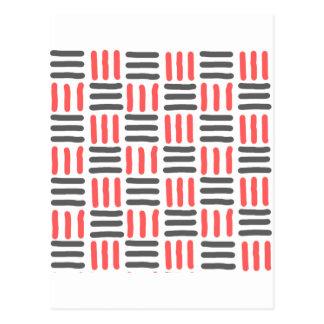 líneas gráfico negras y rojas cortas tarjetas postales
